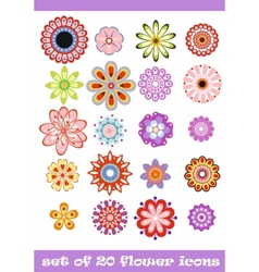 20 colorful flower icons vector image vector image