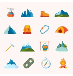 Mountain icons flat vector