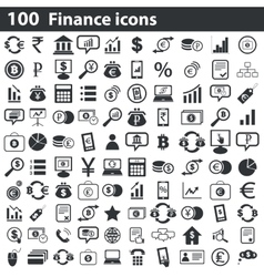 100 finance icons set vector image
