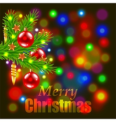 Merry christmas and fir-tree branch vector