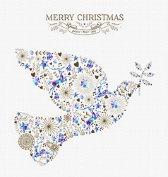 Merry christmas peace dove vintage holiday element vector