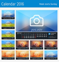 Desk calendar for 2016 year 12 months place for vector