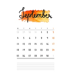 Calendar 2017 template with orange watercolor stai vector