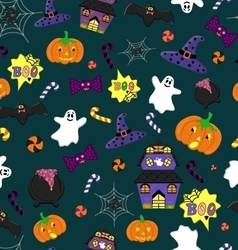 Halloween seamless pattern with festive elements vector