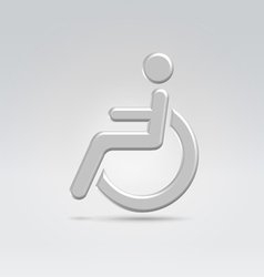 Silver wheelchair person icon vector image