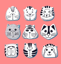 Cats set of cute doodle kids characters animals vector