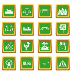 amusement park icons set green vector image