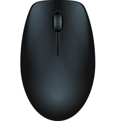 Black realistic computer mouse vector image