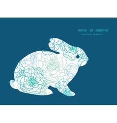 Blue line art flowers bunny rabbit vector