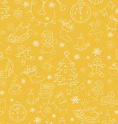 Christmas New Year seamless doodle background vector image vector image