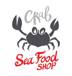Crab silhouette seafood shop logo branding vector