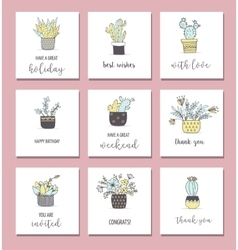 Cute hand drawn cactus cards set vector