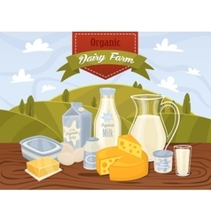 Dairy products on wooden table vector