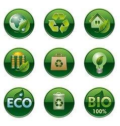 eco and bio round buttons set vector image vector image