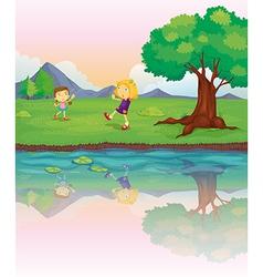 Girls at Riverbank vector image vector image