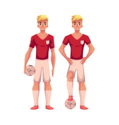 Handsome blond soccer player in uniform standing vector