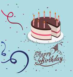 Happy birthday cake candle confetti celebration vector