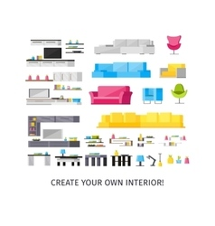 Home interior orthogonal elements set vector