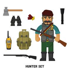 Hunting a set of hunter items flat vector