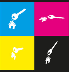 Key with keychain as an house sign white vector