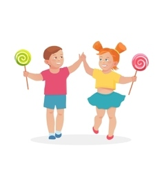 Little children boy and girl holding hands vector