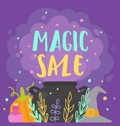 Magic sale witchs stuff and potion steam vector