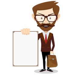 man holding a blank poster vector image vector image
