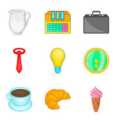 Manager free time icon set cartoon style vector
