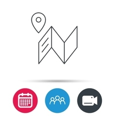 Map icon GPS navigation with pin sign vector image