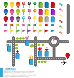 Map icons with buildings and roads vector