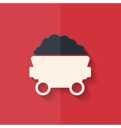 Mining coal cart icon flat design vector