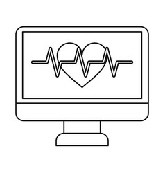 Monitor heartbeat cardiology rhythm thin line vector