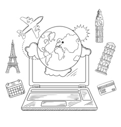 Online travel and booking service design vector image vector image