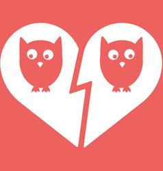 Owl family divorce icon vector