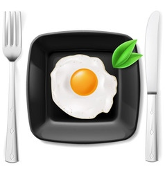 Served fried egg vector image