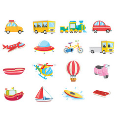 Set of transportation vehicles vector
