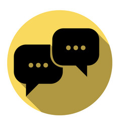 Speech bubbles sign flat black icon with vector