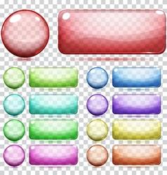 Transparent glass buttons vector