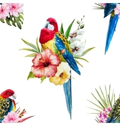 Watercolor rosella bird pattern vector