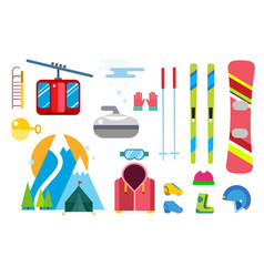 winter sport icons set ski snowboarding vector image vector image