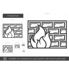 Firewall line icon vector