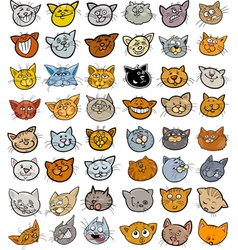 Cartoon funny cats heads big set vector