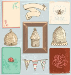 Hand drawn vintage garden elements set vector
