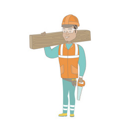 Hispanic carpenter holding saw and wooden board vector