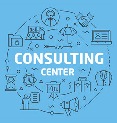 blue line flat circle consultating vector image