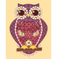 Purple patchwork owl vector image