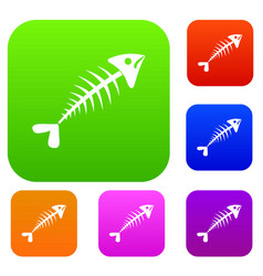 fish bone set collection vector image