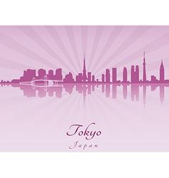 Tokyo skyline in purple radiant orchid vector image
