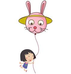 A cute little girl holding a bunny balloon vector image