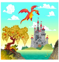 Fantasy landscape with castle and dragon vector